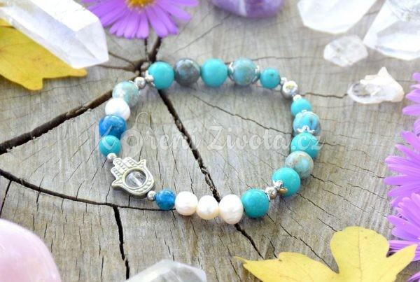 ~OCEAN~ Luxusní minerální náramek z chirurgické oceli, tyrkys a perly, Hamsa