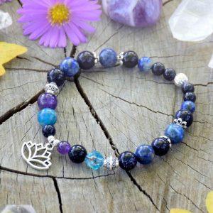 ~MAGIE~ Minerální náramek z avanturínu, apatitu a lapisu lazuli, lotosový květ