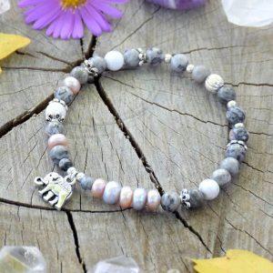~NĚHA~ Elegantní perlový náramek s jaspisem a howlitem, slon