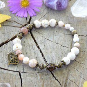 ~MEDITACE~ Perlový náramek s magnezitem a slunečním kamenem, srdce