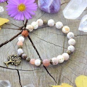 ~MEDITACE~ Minerální náramek z magnezitu, slunečního kamene a perel, strom života