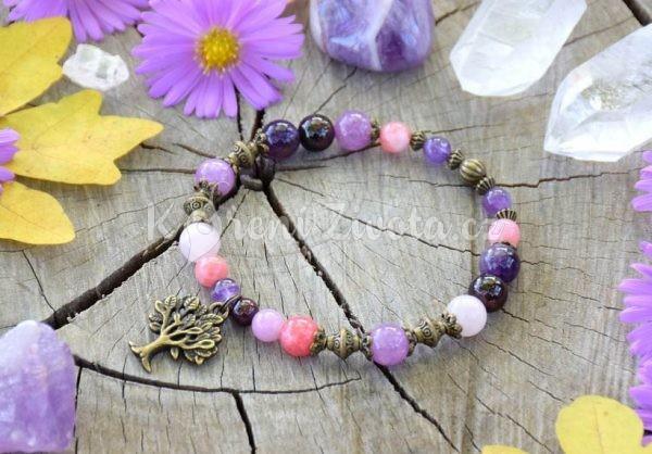 ~NĚŽNOST~ Minerální náramek z granátu, angelitu a lepidolitu, strom života