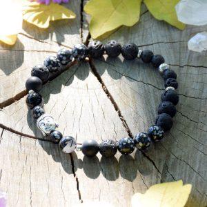 ~TRPĚLIVOST~ Pánský náramek z obsidiánu a lávového kamene s Buddhou