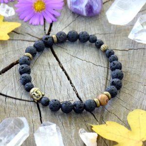 ~(ZE)MĚ~ Pánský náramek ze dřeva a lávového kamene s Buddhou