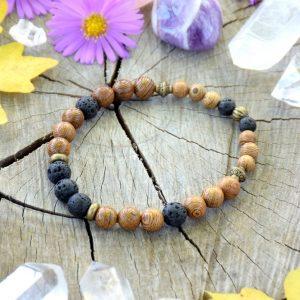 ~(ZE)MĚ~ Pánský náramek ze dřeva a lávového kamene