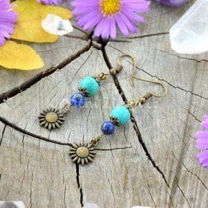 ~INSPIRACE~ Visací náušnice slunce, tyrkys a lapis lazuli