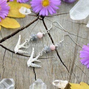 ~VNITŘNÍ JÁ~ Visací náušnice vlaštovky s opálem a mramorem