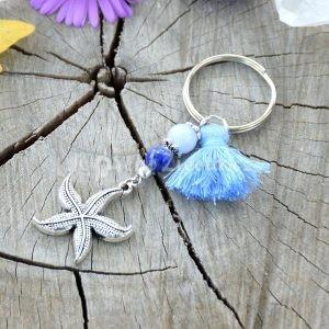 ~OCEAN~ Originální přívěsek na klíče hvězdice s lapisem a angelitem