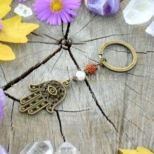 ~VÝJIMEČNOST~ Originální přívěsek na klíče Hamsa s pravou perlou a rudrakshou