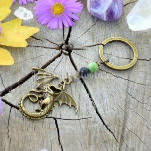 ~VYROVNANOST~ Originální přívěsek na klíče drak s regalitem a lávou