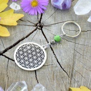 ~VYROVNANOST~ Originální přívěsek na klíče květ života s pyritem a regalitem