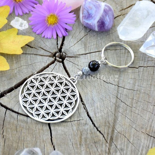 ~TRPĚLIVOST~ Originální přívěsek na klíče květ života s onyxem a jaspisem