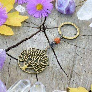 ~(ZE)MĚ~ Originální přívěsek na klíče strom života s lávou a rudrakshou