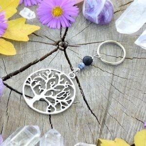 ~TRPĚLIVOST~ Originální přívěsek na klíče strom života s onyxem a achátem