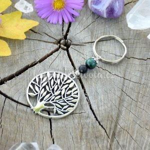 ~VYROVNANOST~ Originální přívěsek na klíče strom života s malachitem