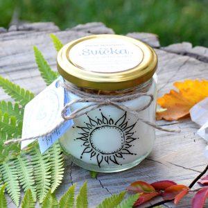 Ručně malovaná přírodní vonná svíčka s minerály *SOUZNĚNÍ*, sojový vosk