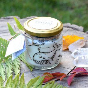 Ručně malovaná přírodní vonná svíčka s minerály *POD MOŘEM*, sojový vosk