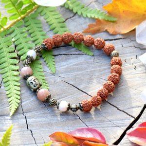 ~VÝJIMEČNOST~ Rudraksha náramek s perlami a slunečním kamenem, Buddha