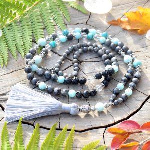 ~NADĚJE~ Luxusní modlitební korále mála z labradoritu a amazonitu, 108 korálků