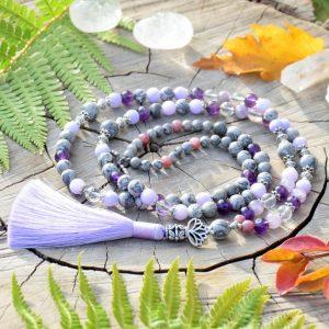 ~DUŠE~ Luxusní modlitební korále mála z jaspisu a fialových minerálů, 108 korálků