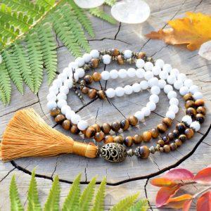 ~ENERGIE~ Modlitební korále mála z tygřího oka a mušle, 108 korálků