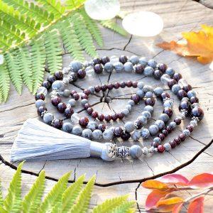 ~ROVNOVÁHA~ Luxusní modlitební korále mála z jaspisu a granátu, 108 korálků