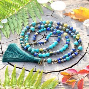 ~Z TAJEMNÉHO LESA~ Luxusní modlitební korále mála z tyrkysu a lapisu, 108 korálků