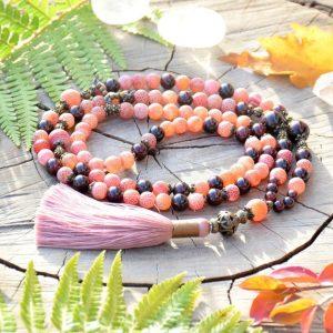 ~OHEŇ~ Luxusní modlitební korále mála z dračího achátu a granátu, 108 korálků