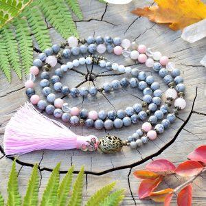 ~ŠTĚSTÍ~ Luxusní modlitební korále mála z jaspisu a opálu, 108 korálků