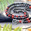 ~SOUZNĚNÍ~ Modlitební korále mála z lávových kamenů a rumělky, 108 korálků