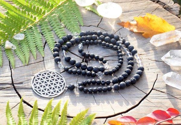 ~SÍLA~ Modlitební korále mála z lávových kamenů a křišťálu, květ života