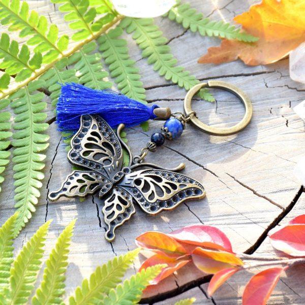 ~INSPIRACE~ Originální přívěsek na klíče motýl s lapisem a avanturínem