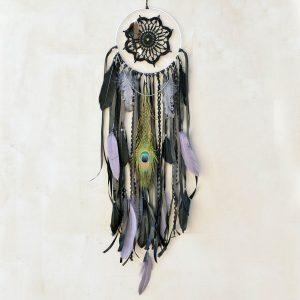 ~VYROVNANOST~ Jedinečný ručně vyráběný lapač snů s pírky a olivínem, 18x80 cm