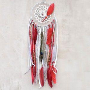 ~ROVNOVÁHA~ Jedinečný ručně vyráběný lapač snů s pírky a howlitem, 18x65 cm