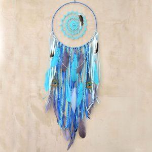 ~OCEAN~ Jedinečný ručně vyráběný velký lapač snů s pírky a lapisem lazuli, 30x97 cm