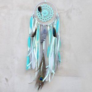 ~NADĚJE~ Jedinečný ručně vyráběný lapač snů s pírky a jaspisem, 18x70 cm