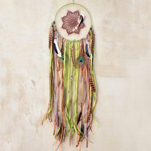 ~(POD)VĚDOMÍ~ Jedinečný ručně vyráběný lapač snů s pírky a jaspisem, 20x80 cm