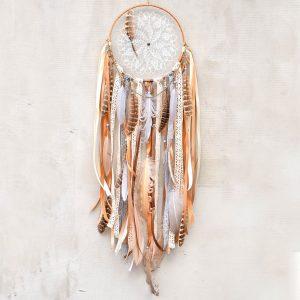 ~TÓNY~ Jedinečný ručně vyráběný lapač snů s pírky a jaspisem, 18x70 cm