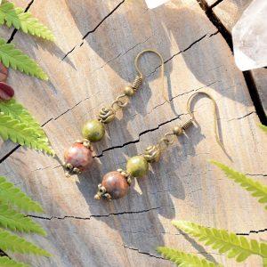 ~(POD)VĚDOMÍ~ Visací náušnice s unakitem a jaspisem