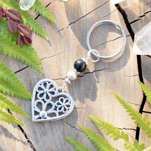 ~ELEMENT~ Originální přívěsek na klíče srdce s pravou perlou a onyxem
