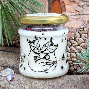 Ručně malovaná přírodní vonná svíčka s minerály a květy *MY DVA*, sojový vosk