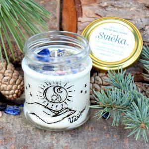 Ručně malovaná přírodní vonná svíčka s minerály *VĚŘÍM*, sojový vosk