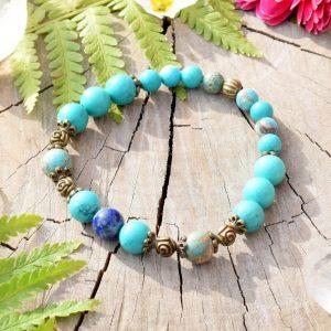 ~INSPIRACE~ Minerální náramek z tyrkysu, lapisu lazuli a regalitu