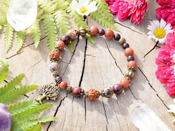 ~ČAKRY~ Minerální náramek z jaspisu, granátu a rudrakshi, strom života