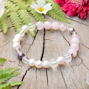 ~ČISTOTA~ Luxusní perlový náramek z madagaskarského růženínu, chirurgická ocel