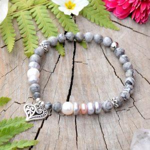 ~NĚHA~ Elegantní perlový náramek s jaspisem, přívěsek srdce
