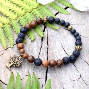 ~(ZE)MĚ~ Pánský náramek ze dřeva a lávového kamene, přívěsek strom života
