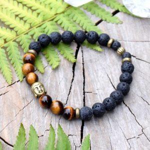 ~SÍLA (ZE)MĚ~ Pánský náramek z tygřího oka a lávového kamene s Buddhou
