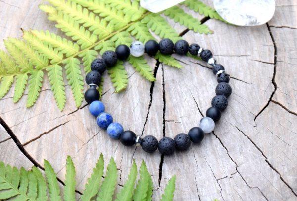 ~MÍR~ Pánský náramek z lapisu lazuli, lávového kamene a onyxu, nerez ocel