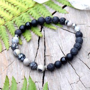 ~TRPĚLIVOST~ Pánský náramek z lávového kamene, obsidiánu a jaspisu, nerez ocel